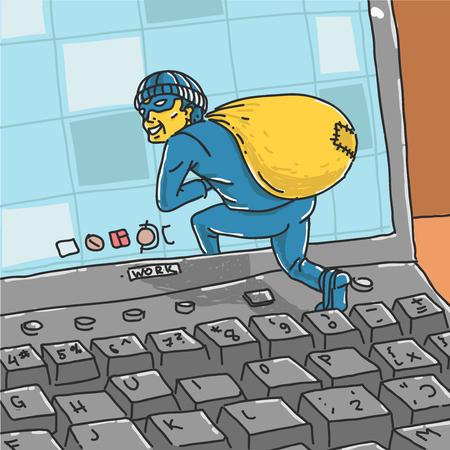 Hacker Steals Information From Computer. Vector Illustration