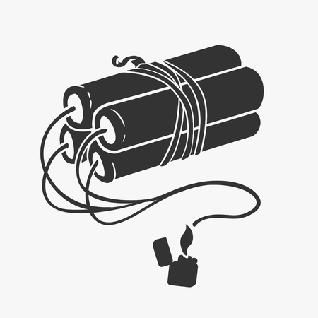 Vector Illustration Symbol of Dynamite and Lighter