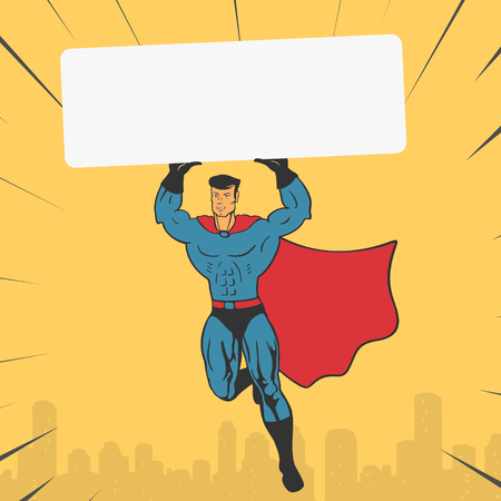 Vector Illustration of a Template Super Hero holds a Banner