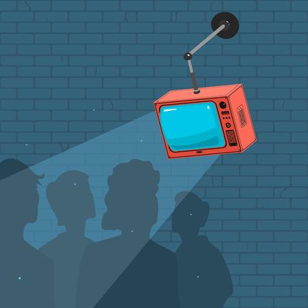 Vector Illustration People Watch TV And Propaganda Stock Photo