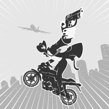 Vector Illustration Bandit On Motorcycle With Pistol Comic Style Stok Fotoğraf - 94076184