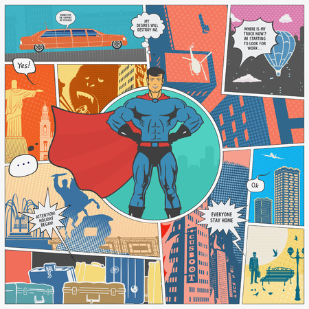 Vector illustration The Page Comics Layout Concept Stock Photo