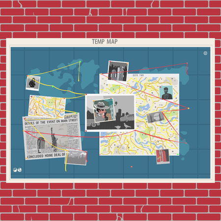 Vector Illustration Wall With Crime Map Concept