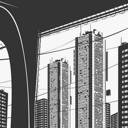 Vector Illustration Urban Panorama Skyscrapers and Bridge Graphics