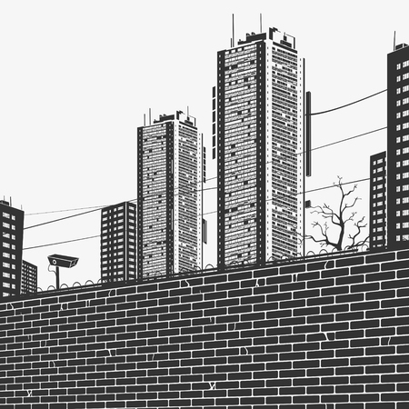 Vector Illustration Urban Panorama Skyscrapers And the brick fence