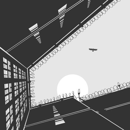 Vector Illustration The Prison Landscape Administrative Building Archivio Fotografico - 97283336