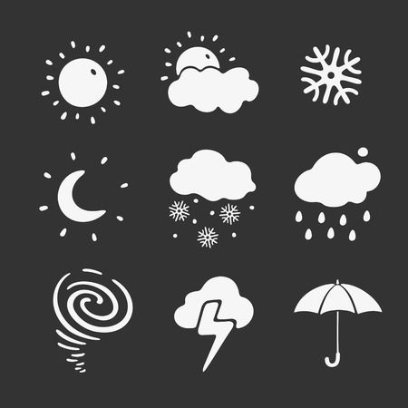 Vector Illustration Set of Symbols Weather Forecast