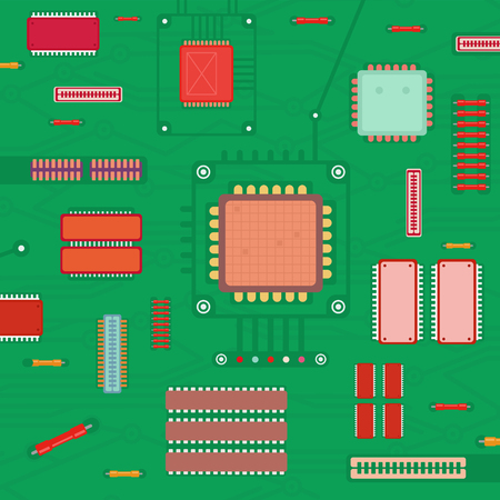 Vector Illustration of Electronic Circuit and Processor