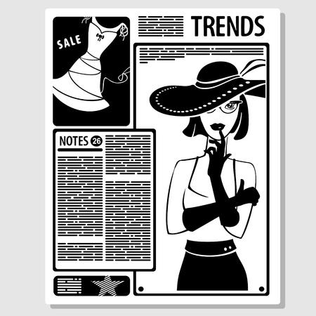 Vector Illustration Concept Page of Female Magazine Ilustração