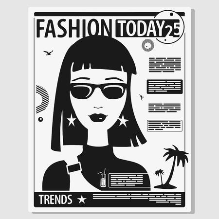 Vector Illustration Concept Page of Female Magazine Zdjęcie Seryjne