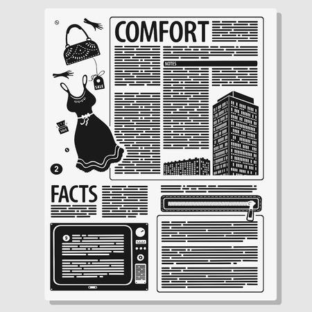 Vector Illustration Concept Page of Female Magazine Banco de Imagens