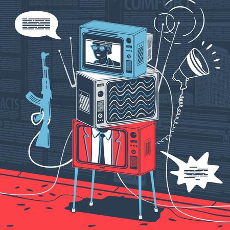 Vector Illustration Concept Propaganda Weapon for Information War