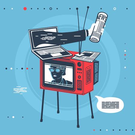 Vector Illustration Mass Media Equipment Set eps 8 file format