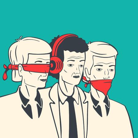 Vector Illustration Concept Dumb Deaf And Blind