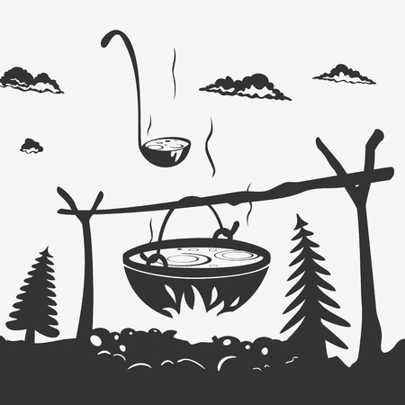 Vector Illustration Cooking Food In A Pot On The Nature