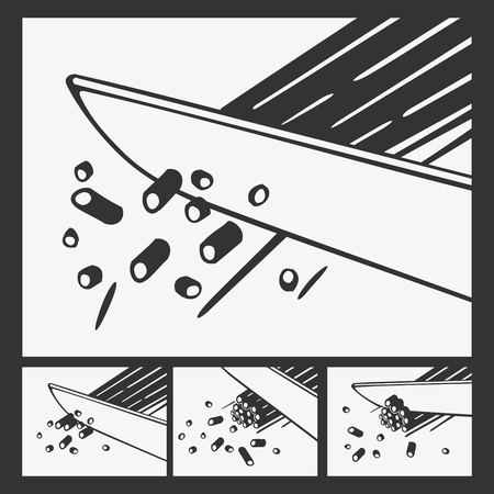Vector Illustration Kitchen Knife Cuts Edible Plant