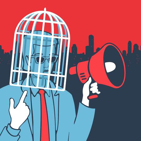 Vector Illustration Concept Freedom of Speech eps 8 file format Illustration