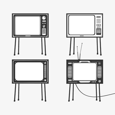 Vector Illustration Set of Retro TV Icons   file format