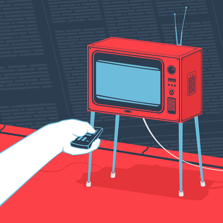 Vector Illustration Man Watching The Tv Concept