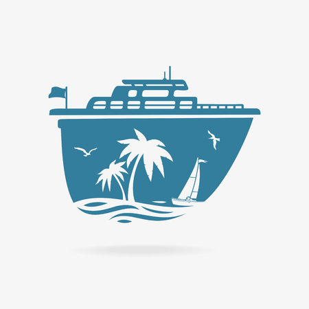 Vector Illustration The Liner At Pier In Tropics Çizim