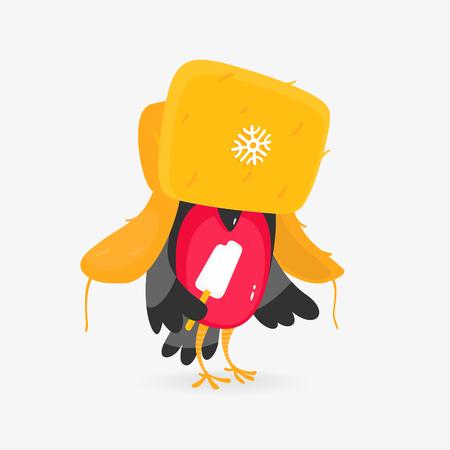 Vector Illustration of Bullfinch Hat Ice Cream Cartoon Style Zdjęcie Seryjne