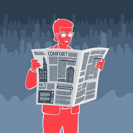 Vector Illustration  Reading Newspaper  file format Banco de Imagens