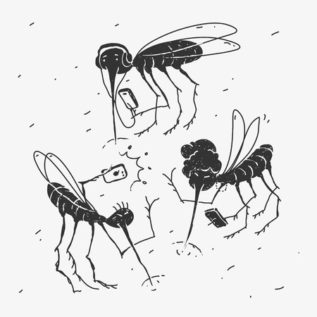Vector Illustration Mosquitoes Use Gadgets The Caricature