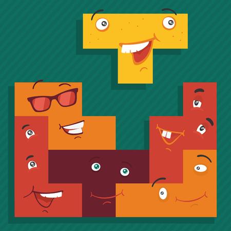 Vector Illustration The Game Mosaic Cartoon Style
