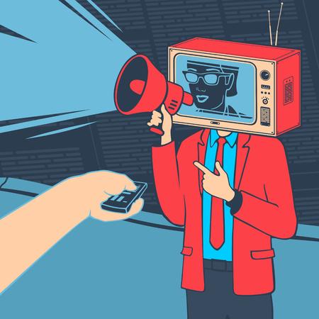 Vector Illustration The Media Propaganda TV Concept Çizim
