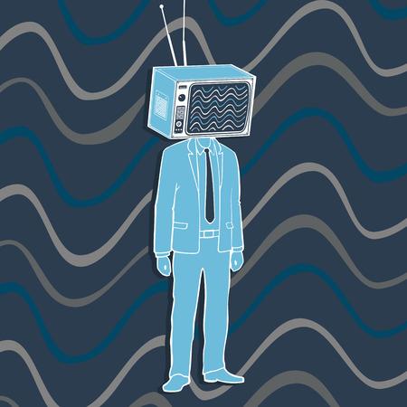 Vector Illustration The Man Television Head Concept Banco de Imagens