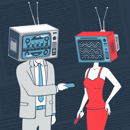 Vector Illustration People With Head Tv Communicate Concept