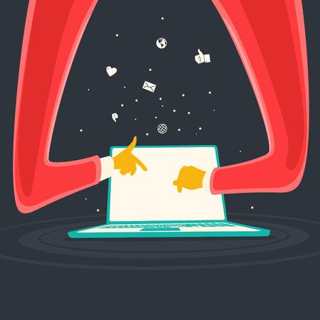 Vector Illustration User Prints On Laptop  file format