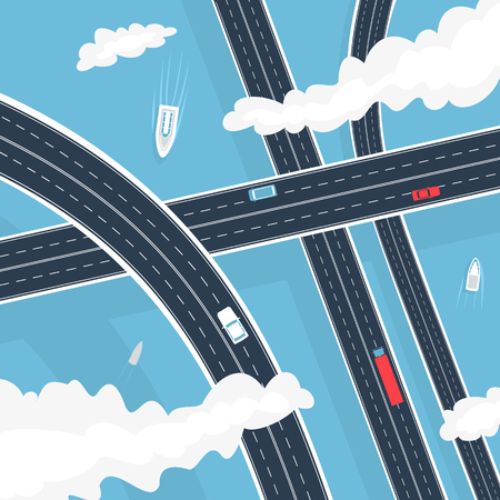 Vector Illustration The Transport Highway Above Water