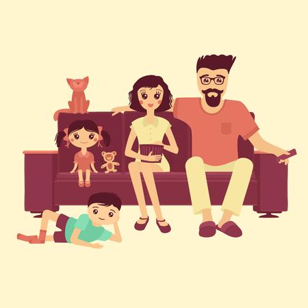 Vector Illustration Cartoon Family Watching The TV
