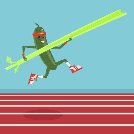 Vector Illustration Cucumber Athlete Healthy Food Symbol Banco de Imagens