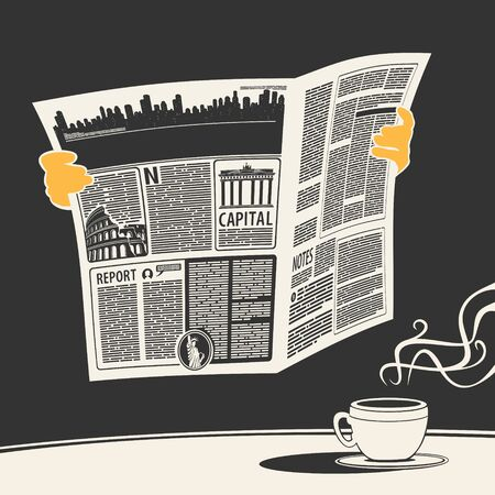 Illustration vector newspaper news and coffee