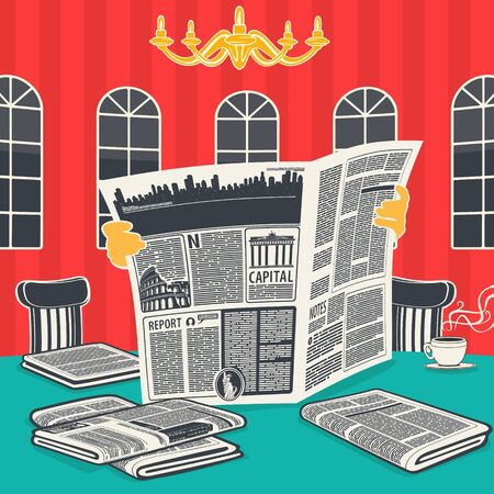 Illustration vector The newspaper news and coffee