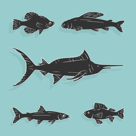 Vector Illustration Set Fish Symbols eps 8 file format