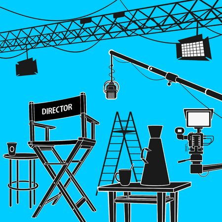 Workplace Cinema Production Vector Illustration eps 8 file format
