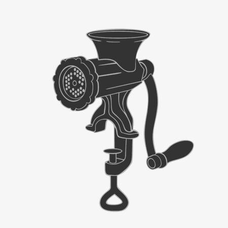 Manual Retro Meat Grinder Symbol Illustration Vector