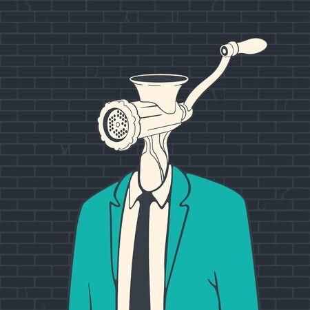 Vector Illustration Cartoon Man Consumer Head Meat Grinder Banco de Imagens