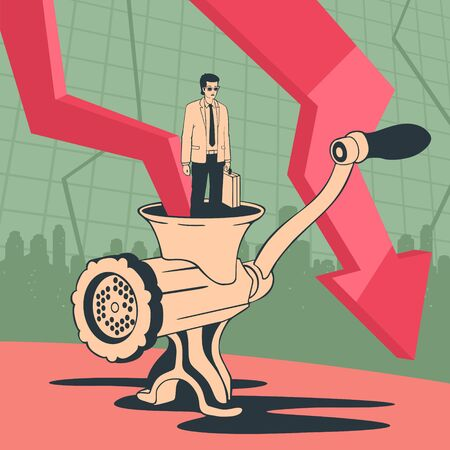 Vector Illustration Bankrupt Businessman Businessman In Mincer Concept