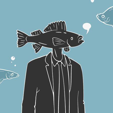Illustration Vector Man with Fish Head Caricature Banco de Imagens