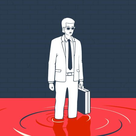 Illustration Vector Man With Suitcase In A Puddle Of Blood