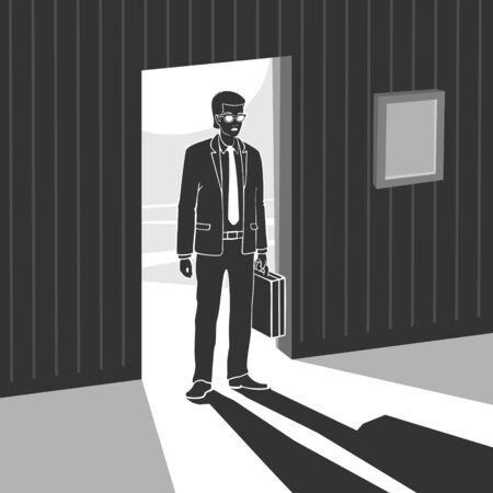Man Enters Into Dark Room Vector Illustration