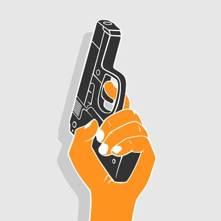 Illustration Vector Hand With Gun eps 8 file format
