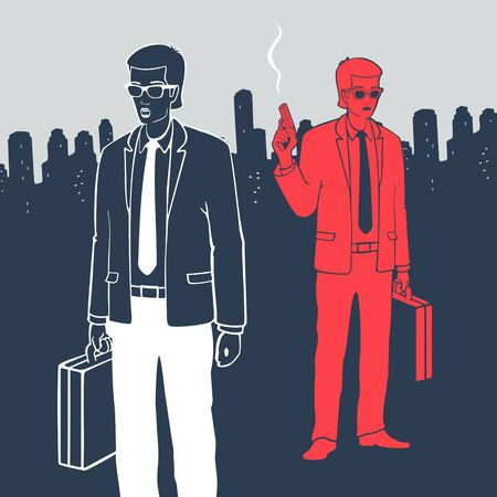 Illustration Vector Man In Suits With Suitcases and Gun Ilustração