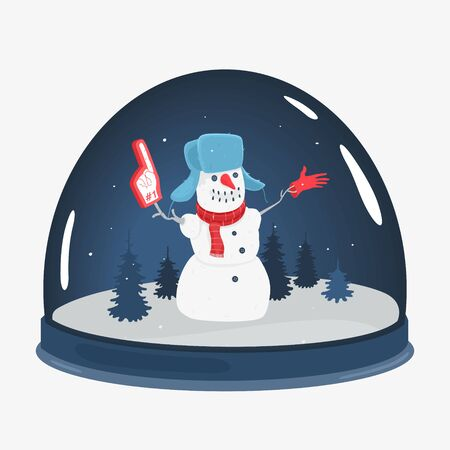 Illustration Vector The Cartoon Snowman Souvenir Toy