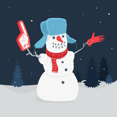 Illustration Vector The Cartoon Snowman In The Forest Banco de Imagens