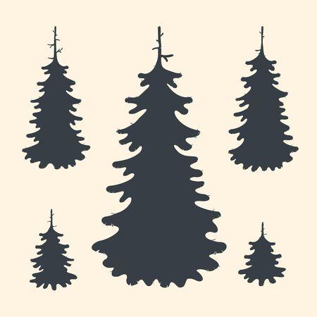 Illustration Vector Set Spruce Tree Symbols eps 8 file format